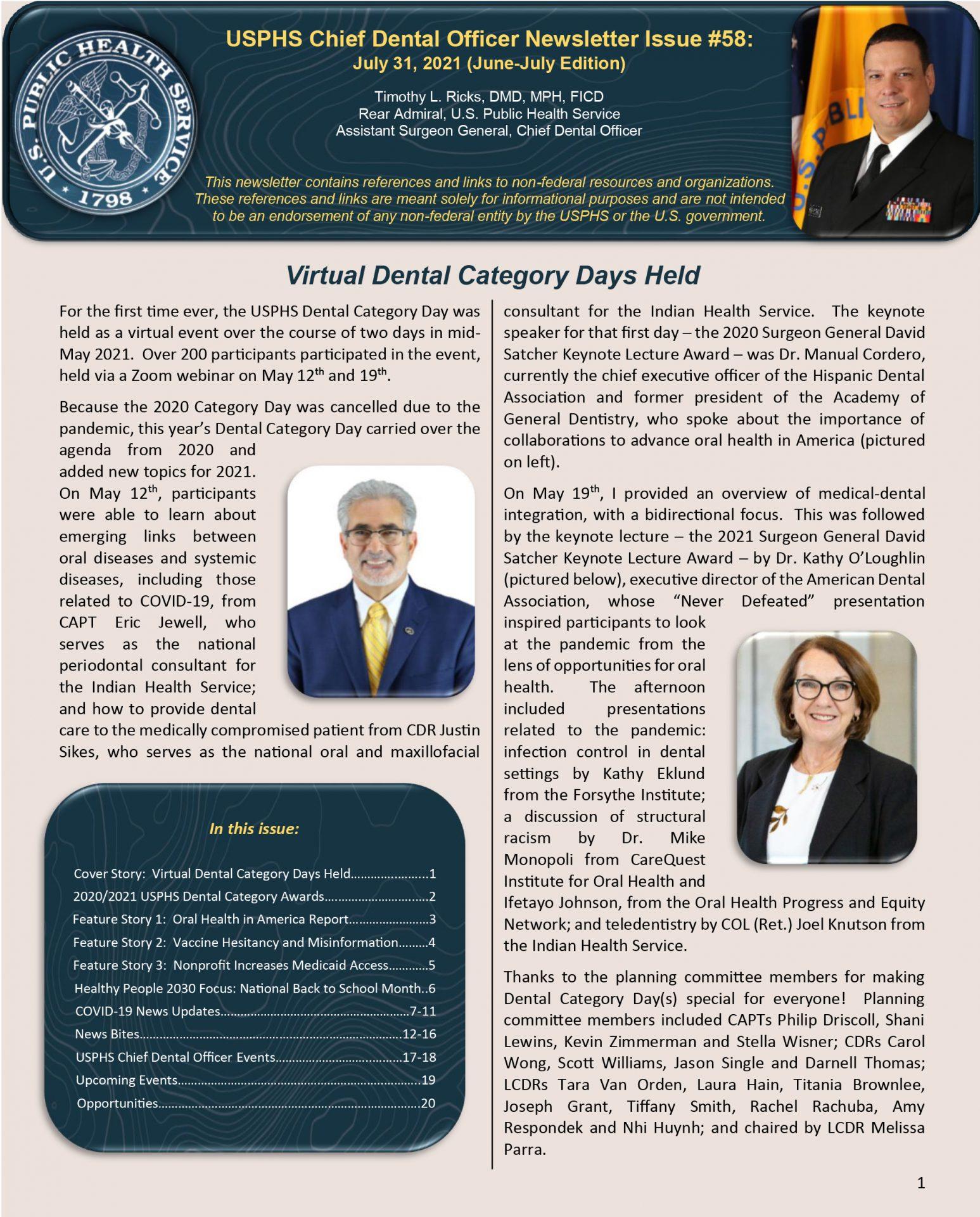 USPHS Chief Dental Officer Newsletter June-July 2021